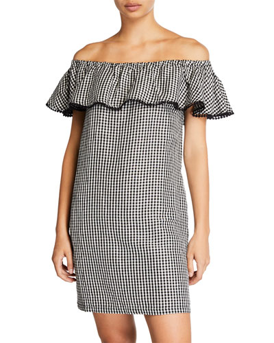 Gingham Off-the-Shoulder Ruffle Dress