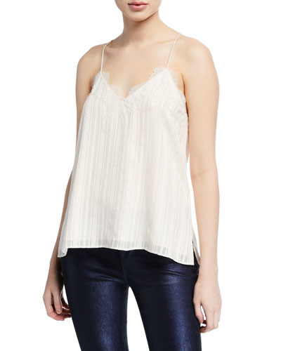 Striped V-Neck Racerback Camisole with Lace Trim