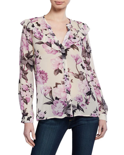 Amore Floral-Print Silk Blouse