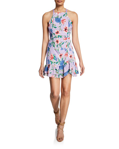 Amina Floral-Print Mini Halter Dress