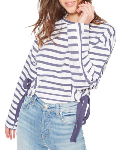 Yolanda Striped Sweatshirt with Side-Ties