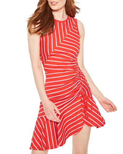 Lucia Striped Sleeveless Ruched Dress