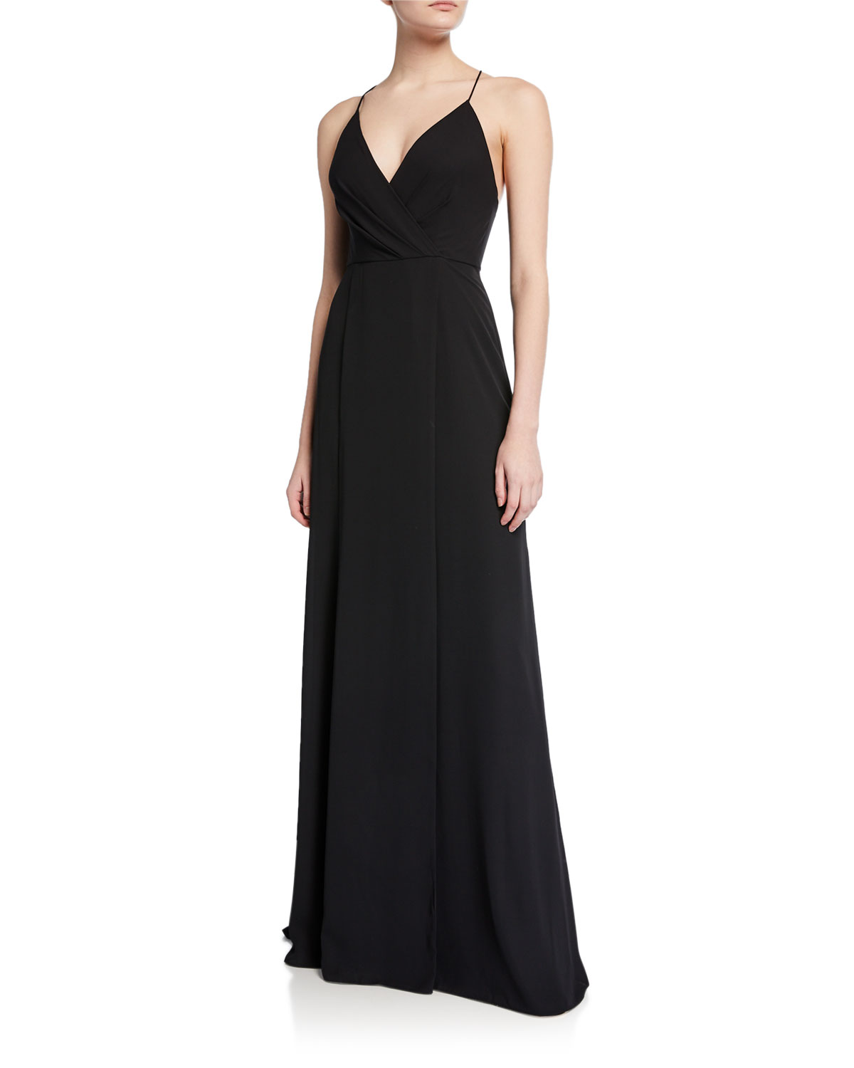 04b1e01ec1f Jay Godfrey V-Neck Cross-Back Spaghetti-Strap Maxi Gown W  Slit In ...