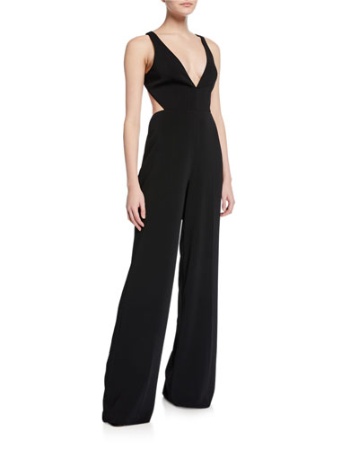 0632f5f033c5 Quick Look. Jay Godfrey · Rooney Deep V-Neck Sleeveless Cutout-Back Jumpsuit.  Available in Black