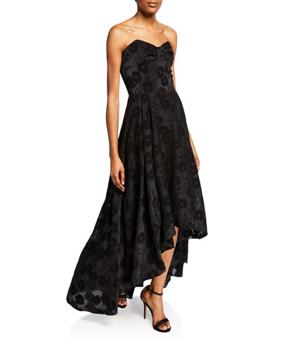 Vilia Tonal Floral Lace Strapless High-Low Dress