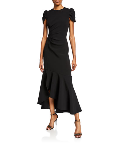 Marie Cap-Sleeve Ruched High-Low Flounce Dress