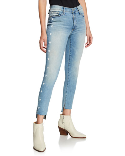Miranda Bath Water Off-Step Hem High Rise Skinny Jeans w/ Stars