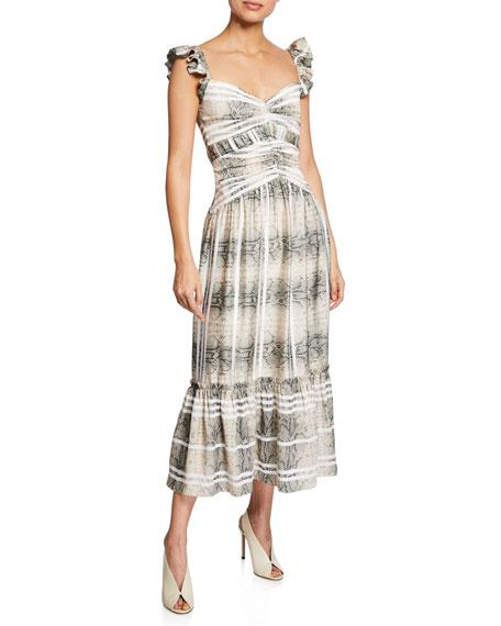 Three Floor Snakes & Ladders Striped Sleeveless Ruffle Dress