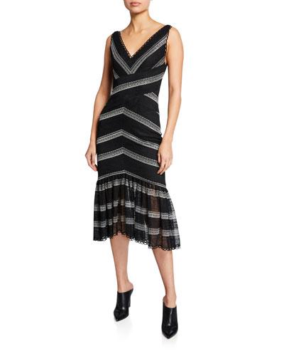Striped Lace V-Neck Sleeveless Ruffle-Hem Dress