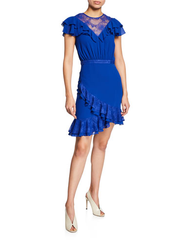 Paulo Falls Short-Sleeve Tiered Ruffle Dress