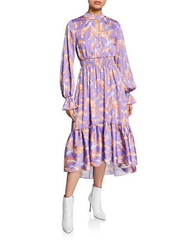 Lisbon Sisters Floral-Print Mock-Neck Blouson-Sleeve Midi Dress