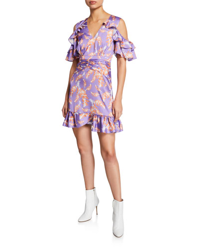 Bayside High Printed V-Neck Cold-Shoulder Mini Ruffle Dress