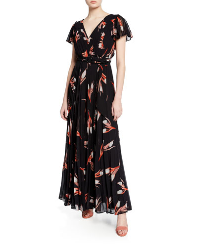 75e0782fc11f Quick Look. Fame and Partners · Floral-Print Pleated Short-Sleeve Belted  Georgette Dress. Available in Black