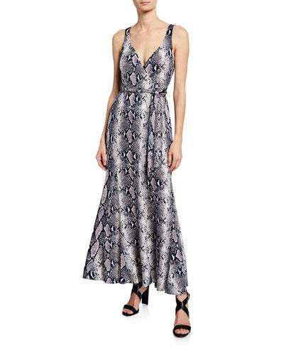 Elisha Silk Jersey Maxi Wrap Dress