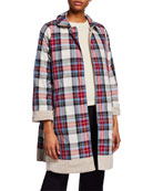 Max Mara The Cube Faille Reversible Check Raincoat,