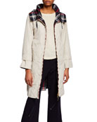 Max Mara The Cube Reversible Check Raincoat w/