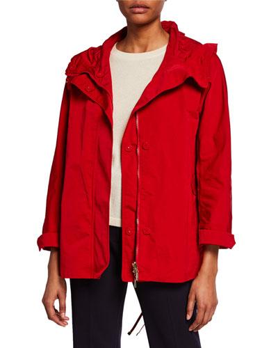 Faille Raincoat Parka w/ 4 Pockets