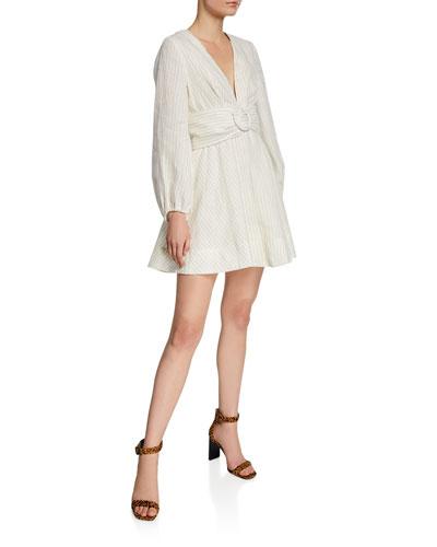 Isadora Plunge-Neck Long-Sleeve Belted Mini Dress