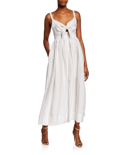 91e24f69cec Quick Look. Shona Joy · Striped Tie-Front Sleeveless Linen Midi Dress