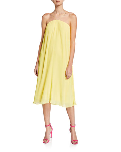 Paloma Pleated Chiffon Halter Midi Dress