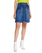 Atelier Notify Malia Zip-Front Denim Skirt