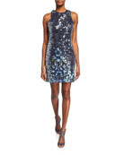 Aidan by Aidan Mattox Sequined Floral-Embroidered Sleeveless Mini