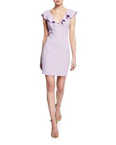 V-Neck Sleeveless Crepe Cocktail Dress w/ Flounce Trim