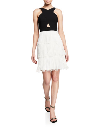 Colorblock Tiered Fringe Halter Dress