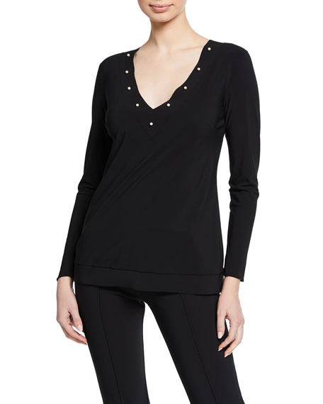 Chiara Boni La Petite Robe Gregoriana V-Neck Long-Sleeve Top w/ Pearlescent Trim