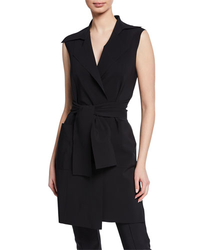 Hana Notched-Collar Vest with Belt