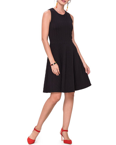 Ava Sleeveless Pebble-Jersey Fit-and-Flare Dress
