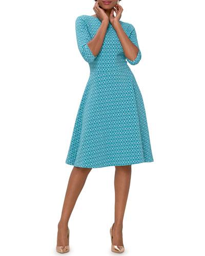 3/4-Sleeve Bellissimo Jacquard Circle Dress