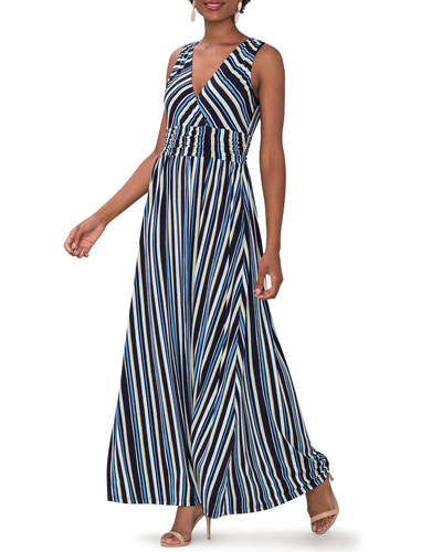 Athena Striped Sleeveless Maxi Dress