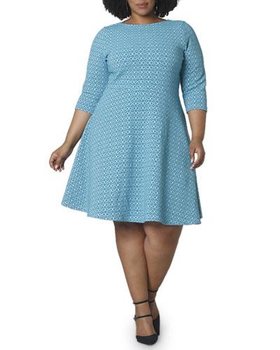 Plus Size 3/4-Sleeve Bellissimo Jacquard Circle Dress