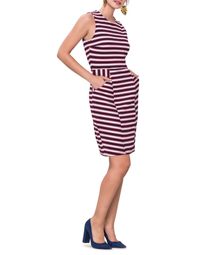 Striped Panel Sleeveless Shift Dress