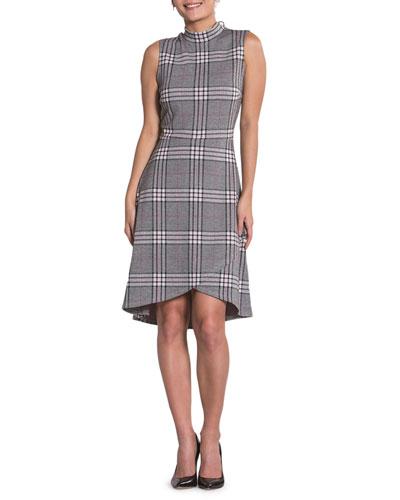 Alyssa Plaid Sleeveless Asymmetric Shift Dress