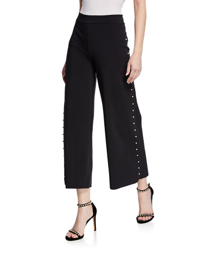 Norma Cropped Wide-Leg Pants w/ Pearlescent Trim