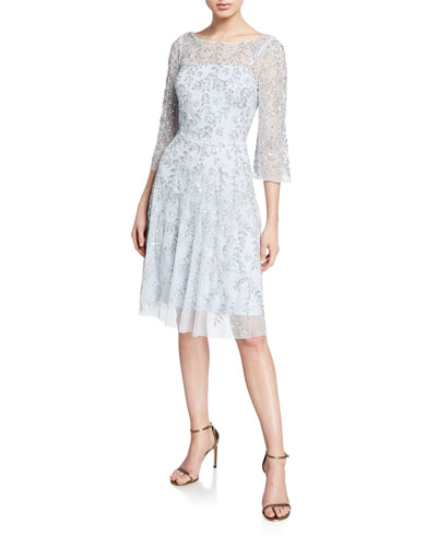 32574eb5d5c Quick Look. Aidan Mattox · Beaded-Mesh Boat-Neck 3 4-Sleeve Cocktail Dress