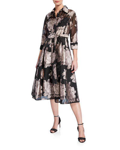 Floral Burnout Jacquard Organza Shirtdress