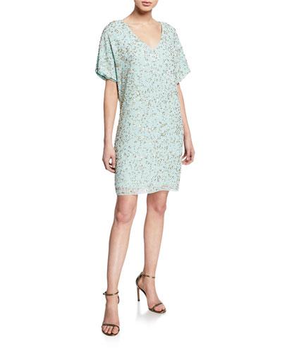 Beaded-Mesh V-Neck Short-Sleeve T-Shirt Cocktail Dress