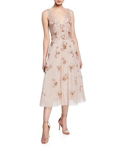 d6ab092a4f76 Quick Look. Aidan Mattox · Beaded V-Neck Sleeveless Midi Cocktail Dress