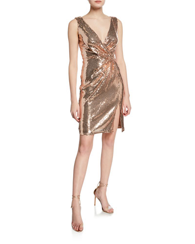 b2b5a977 Quick Look. SHO · Sequin Sleeveless Mini Wrap Dress