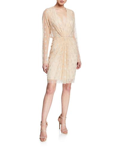 Metallic Star V-Neck Long-Sleeve Ruched Mesh Dress