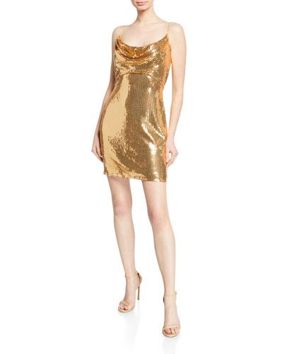 Sequin Cowl-Neck Spaghetti-Strap Mini Dress