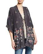 Johnny Was Elijah Floral-Embroidered Georgette Kimono