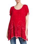 Johnny Was Caleb Scoop-Neck Short-Sleeve Eyelet Tunic and