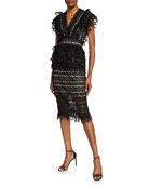 Elliatt Terrace Two-Tone Lace Short-Sleeve Top & Skirt