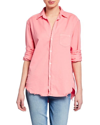 Button-Down Long-Sleeve Frayed-Hem Cotton Shirt, Candy Pink