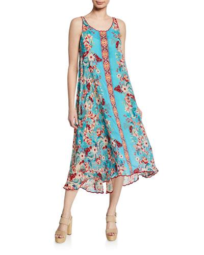 Hazel Scoop-Neck Sleeveless High-Low Georgette Dress