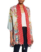 Johnny Was Jade Mixed Floral-Print 3/4-Sleeve Silk Twill